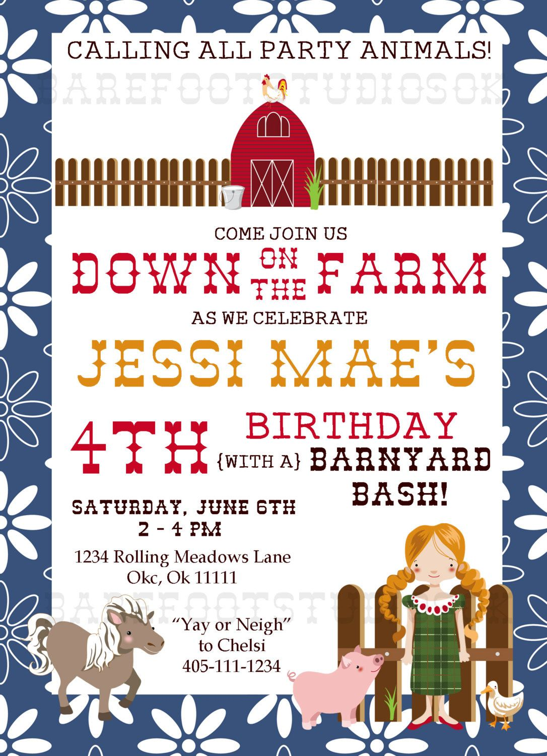 Down on the Farm Barnyard Bash Floral 5x7 Digital Birthday ...