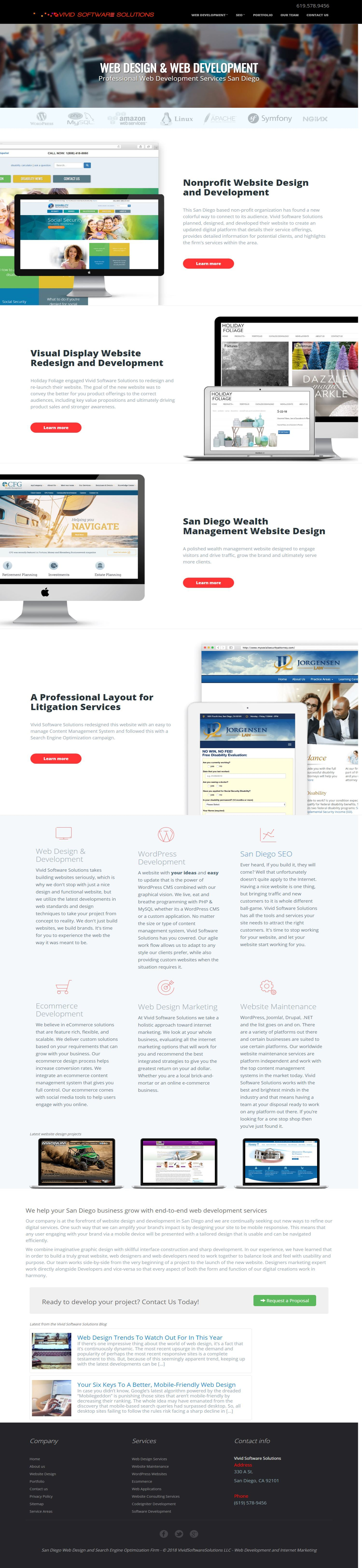 Vivid Software Solutions Is One Of San Diego S Top Web Design Firms And They Got Here By Putting Their Web Design Web Design Firm Professional Website Design