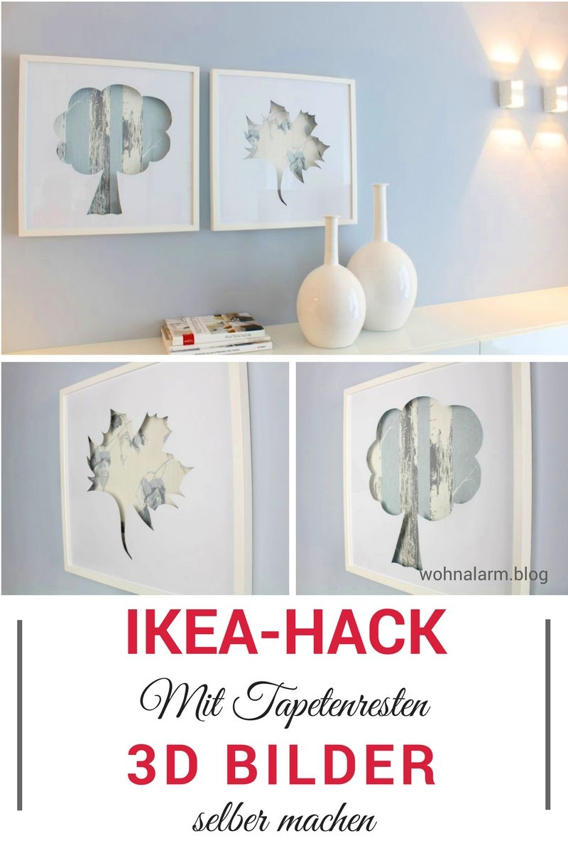 ikea hack 3d bilder mit tapetenresten im ribba bilderrahmen wohnalarm pinterest. Black Bedroom Furniture Sets. Home Design Ideas