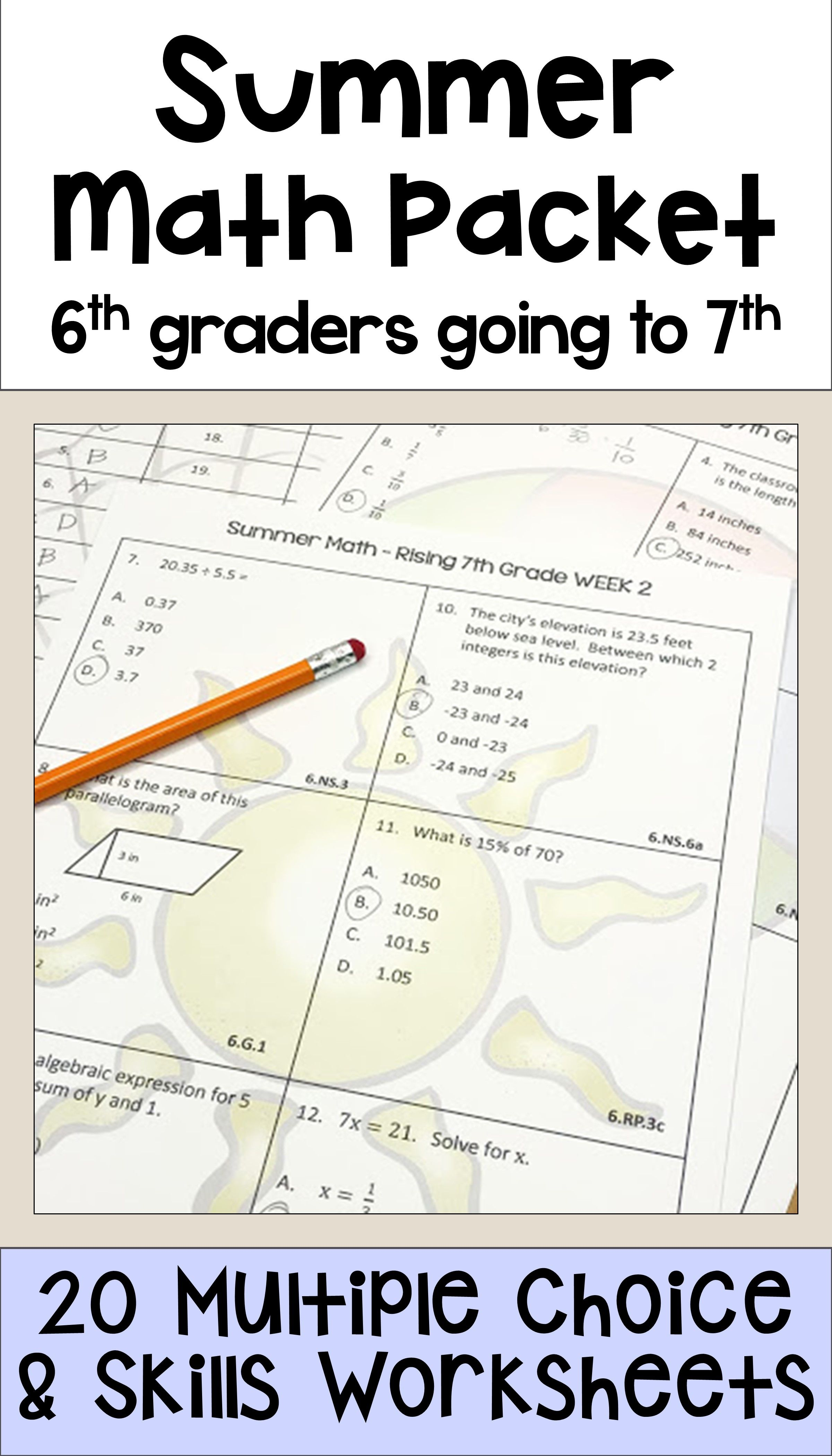 Summer Math Packet For Rising 7th Graders