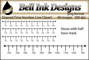 These images are number lines with time intervals.  They can be used when creating products for 3rd Grade, 3. MD.1, Elapsed Time on a Number Line.I tried to make a variety of options for you to be able to make multiple problems to cover this goal.  There are 48 images, each image is 300 dpi and in png format.There are 4 groups of number lines:Hours labeled with marks for half hourHours and half hours labeled1 hour 20 minutes with 5 minute intervals labeled4 hours with quarter hours…