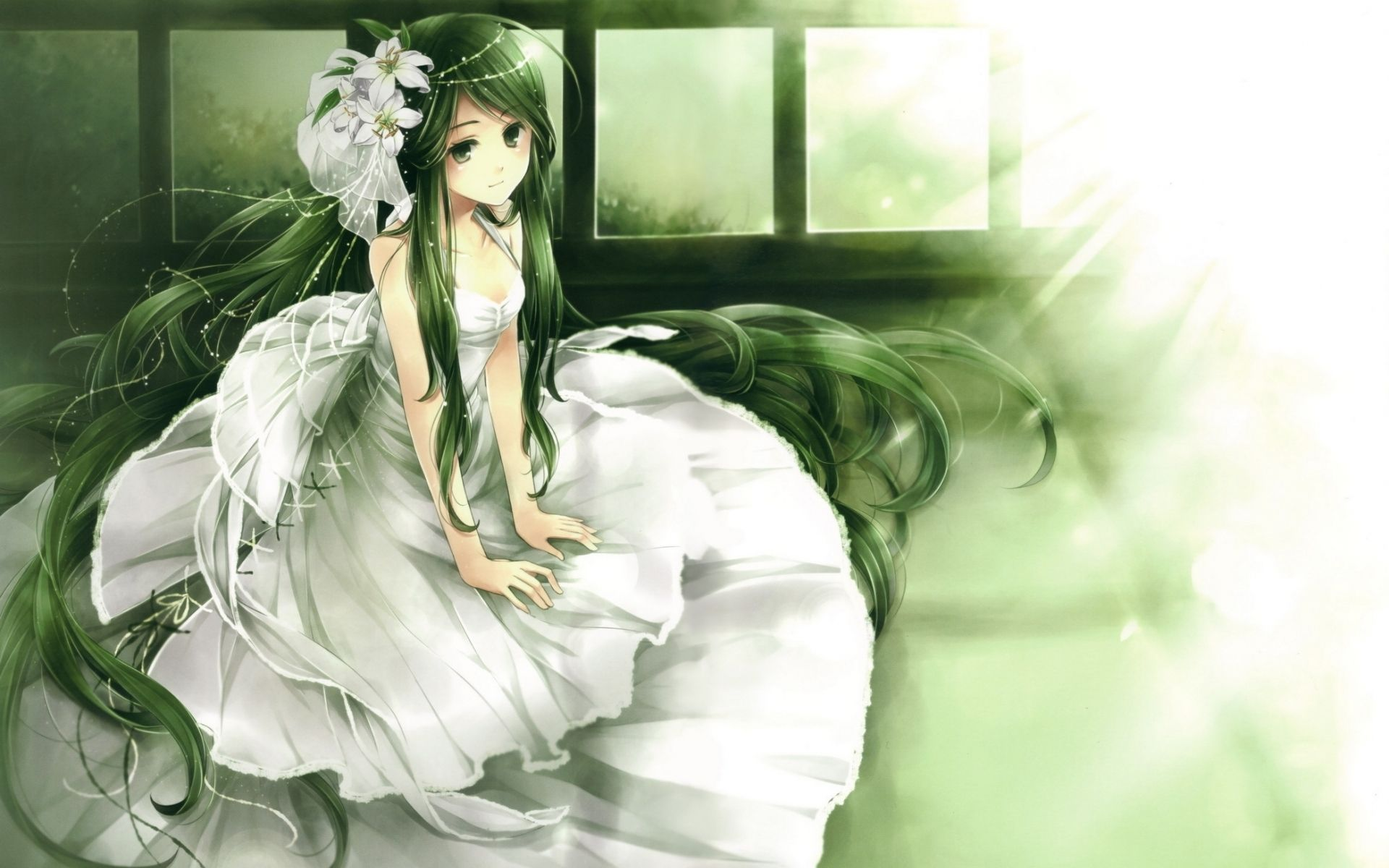 Download Wallpaper 1920x1200 Girl, Cute, Dress, Smile, Decoration 1920x1200 HD Background