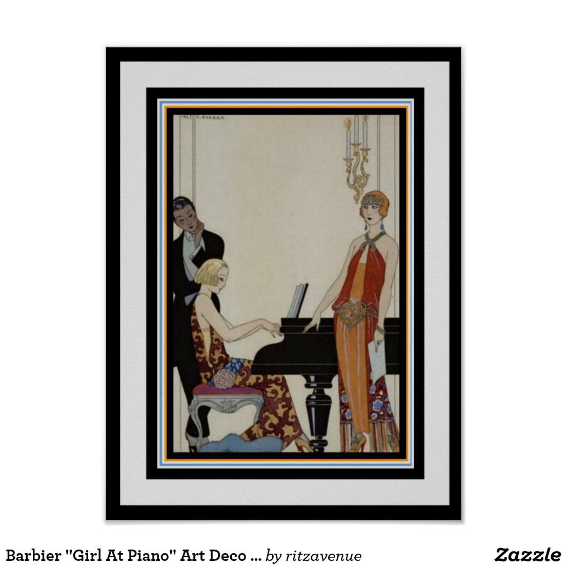 Barbier girl at piano art deco poster 12 x 16 for Piani art deco