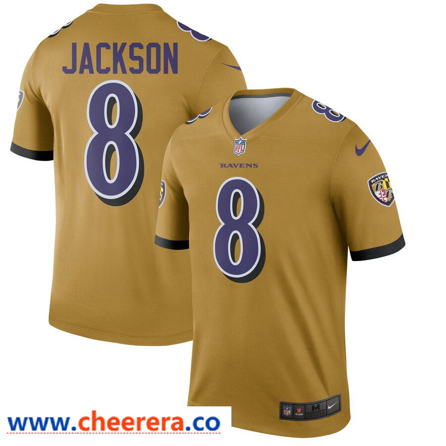 Nike Men's Baltimore Ravens #8 Lamar Jackson Gold Inverted Legend ...