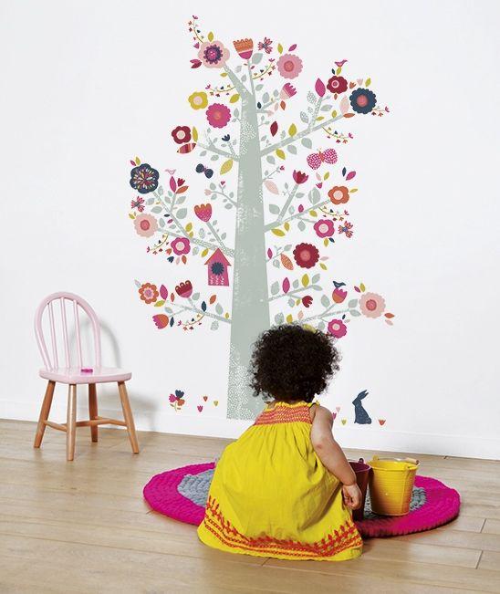Stickers arbre et fleurs bucolique décoration chambre denfant lilipinso