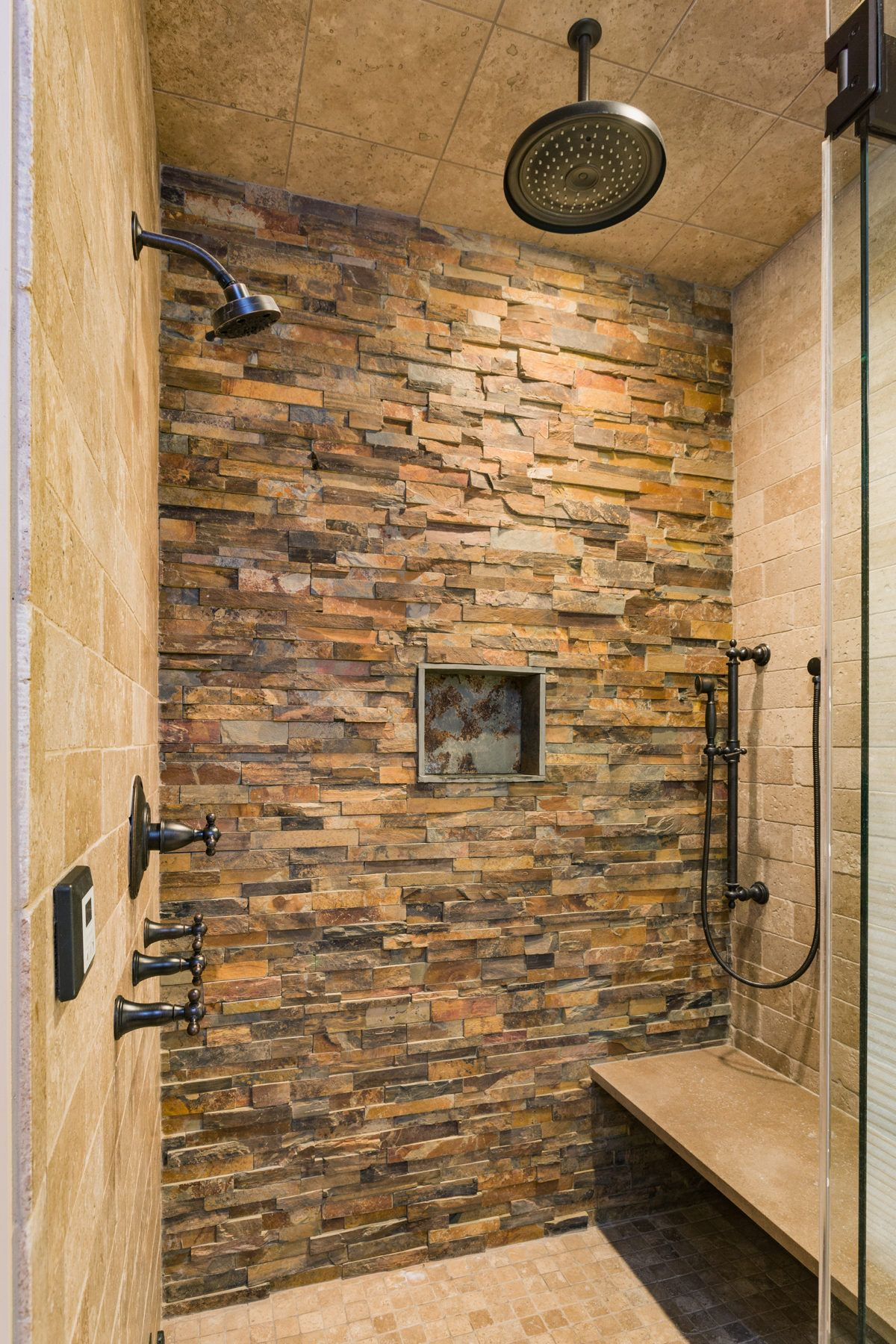 Bad eitelkeit design amazing stone work in this bathroom with multiple shower heads and a