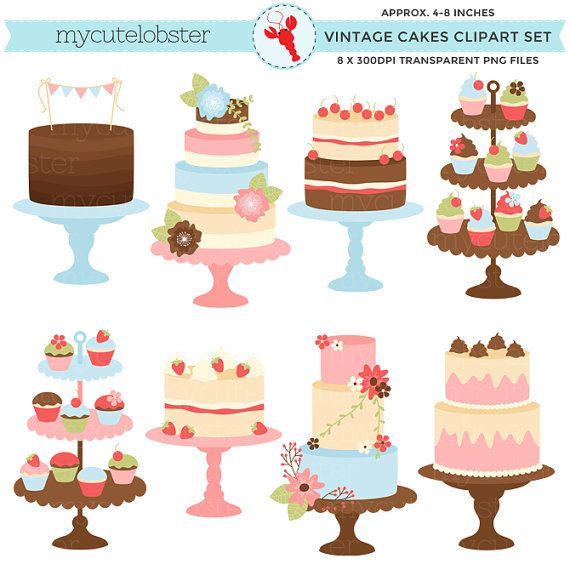 Pretty Vintage Cakes Clipart Set clip art by mycutelobsterdesigns