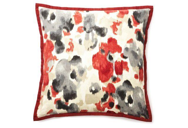 Watercolor 20x20 Linen Pillow, Red