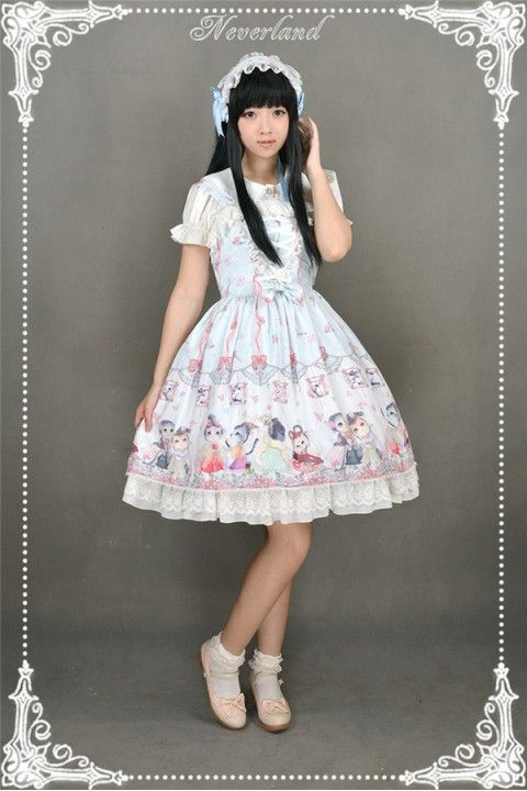 Cheap Neverland Chinese Garden Meow Straps Sweet Lolita JSK 3 Colors - Fashion Lolita Dresses & Clothing Shop