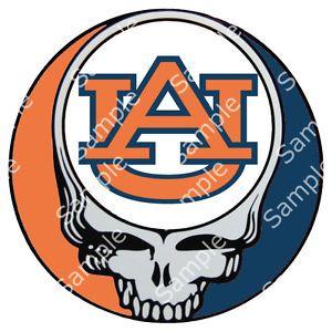 auburn tigers grateful dead steal your face 3 round vinyl decal rh pinterest com Cartoon Auburn Tiger Logo Cartoon Auburn Tiger Logo