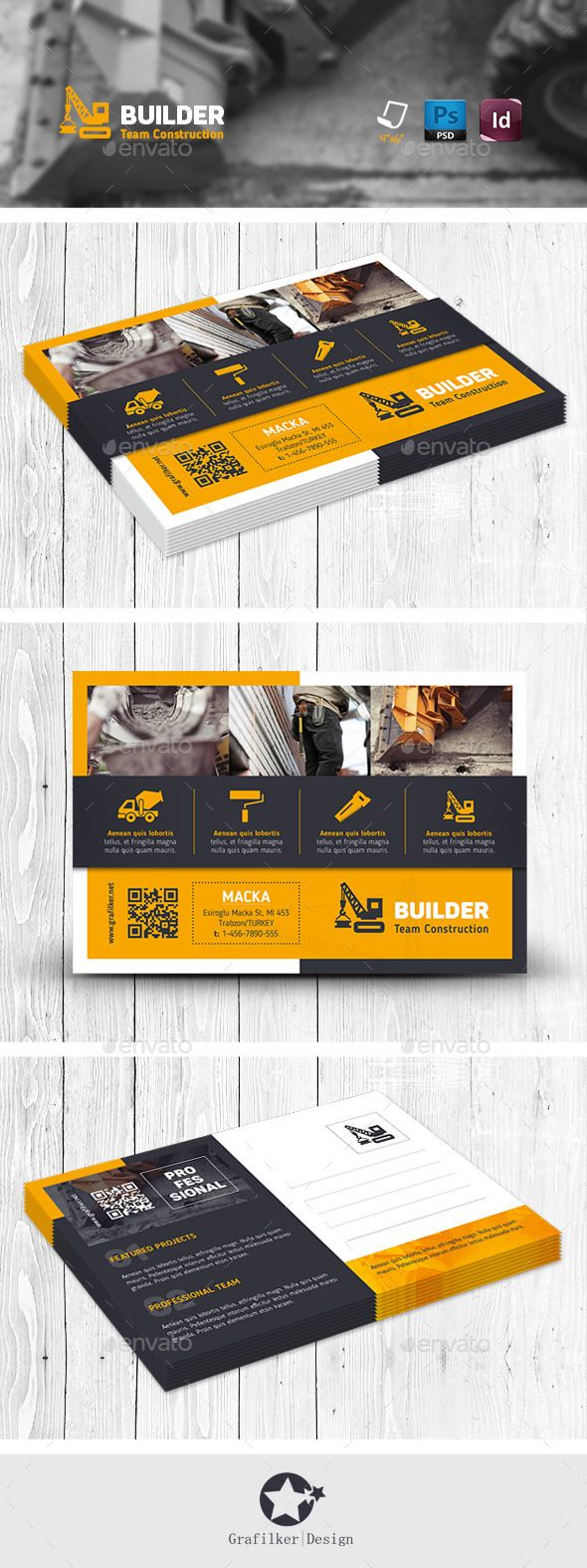 Construction Postcard Templates | Diseño editorial, Tarjetas ...