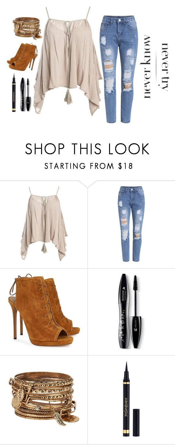 """Never Try, Never Know"" by alexandra-3-grace ❤ liked on Polyvore featuring Sans Souci, Aquazzura, Lancôme, ALDO and Yves Saint Laurent"