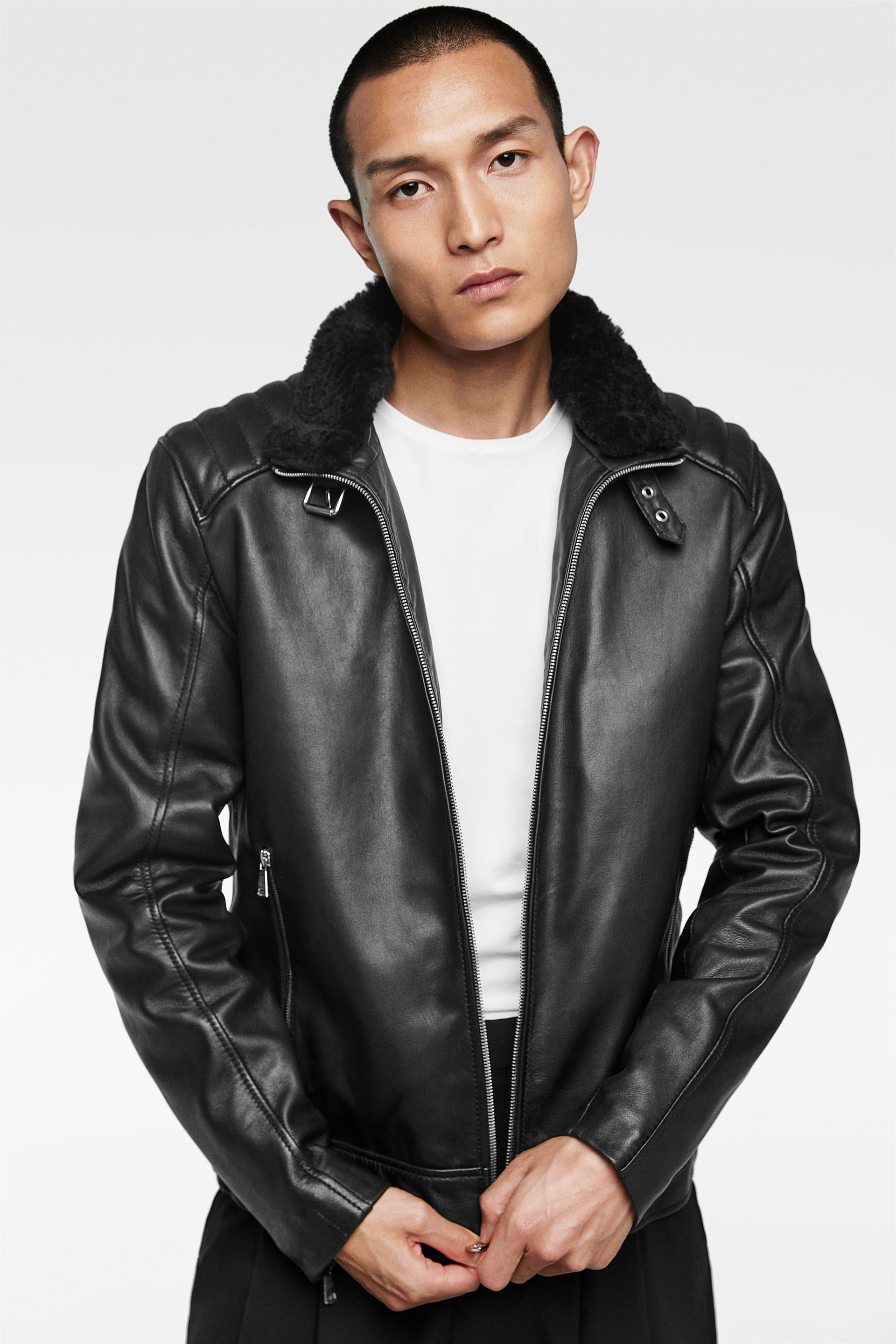 Image 2 of COMBINED LEATHER JACKET from Zara Leather