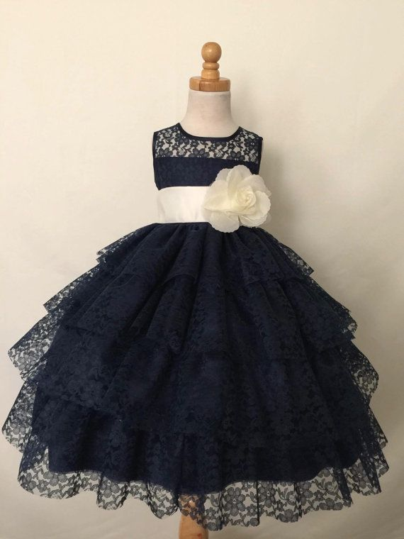 Navy Blue Floral Lace Elegant Pageant Recital Summer by Adore50