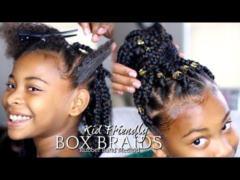 How To Box Braids Rubber Band Method Kids Hairstyle Video