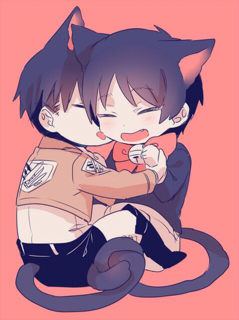Eren x Levi babies (^。^)