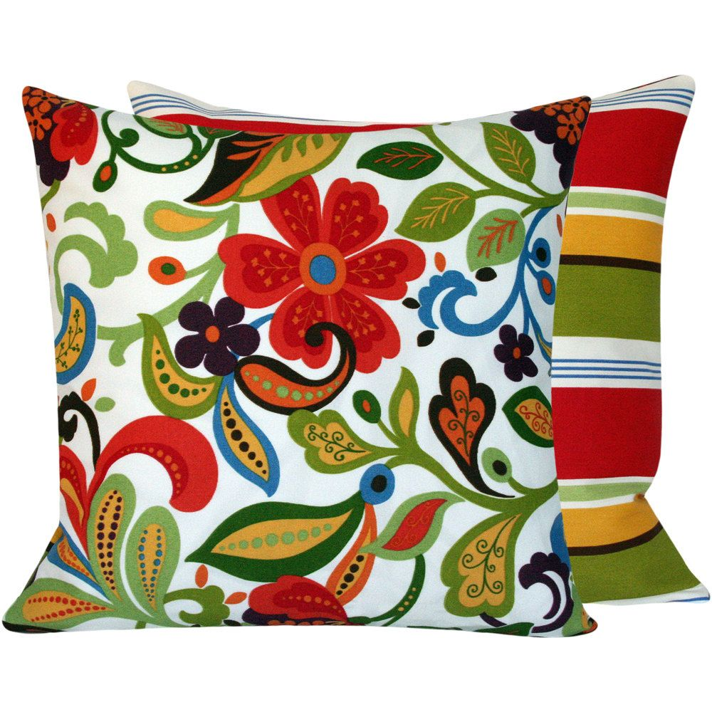 Floral Colorful Outdoor Throw Pillow 20x20 Cover Accent Pillow Cushion Cover Outdoor Furnit Outdoor Pillow Covers Blue Throw Pillow Cover Blue Throw Pillows