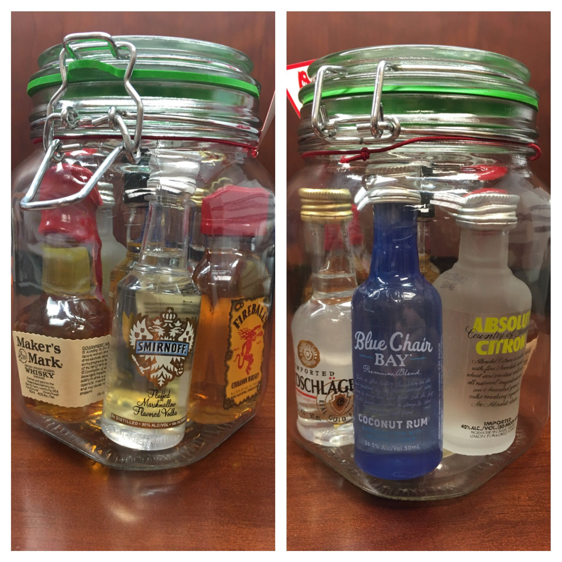 Mini Bar In A Jar All For 20 Jar 3 Ish At Walmart Mini Bottles 13 Ish For 7 Of Them Go As Big Or Small As You Wan Jar Gifts Alcohol Gifts Elephant Gifts