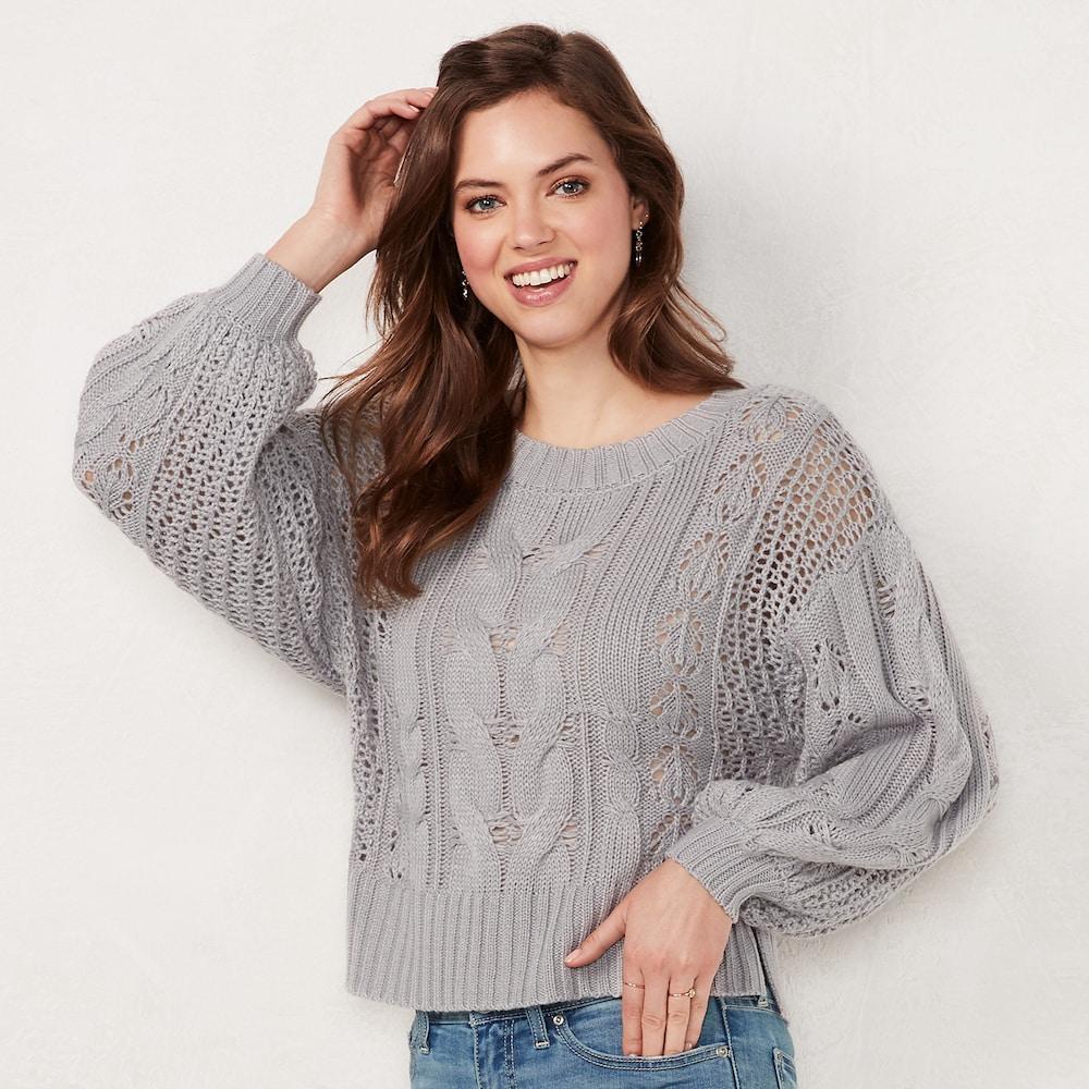 086209cc5779d Women s LC Lauren Conrad Cable-Knit Crop Sweater