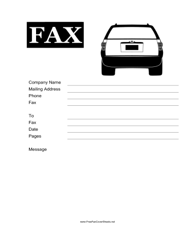 This Printable Fax Cover Sheet Shows The Rear End Of A Car Great