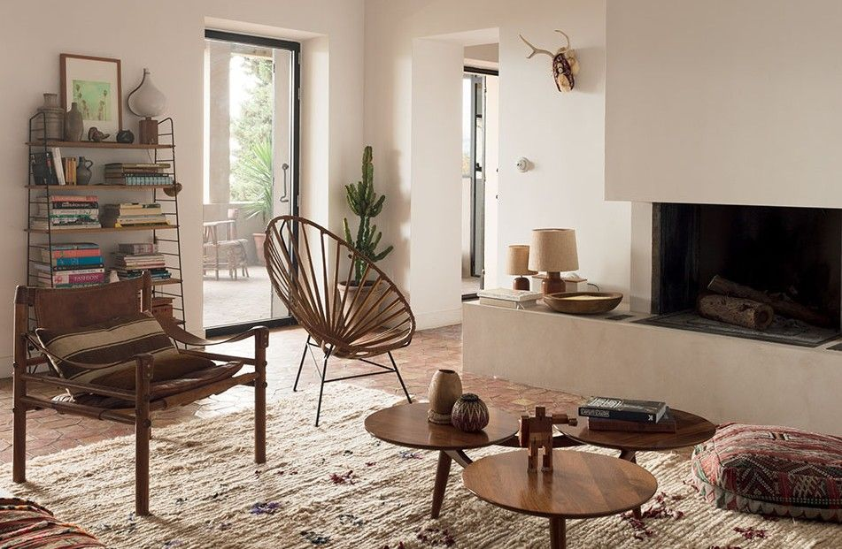 Les intérieurs bohème chic salon beige marron : inspiration style ...