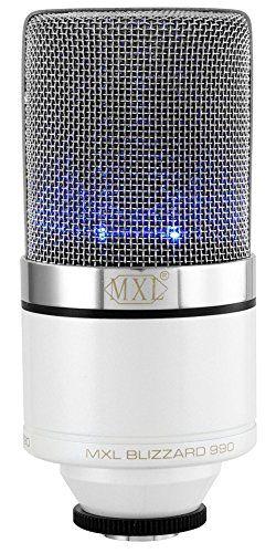 MXL 990 Blizzard Condenser Microphone Blue LED Lights Studio Audio Recordings