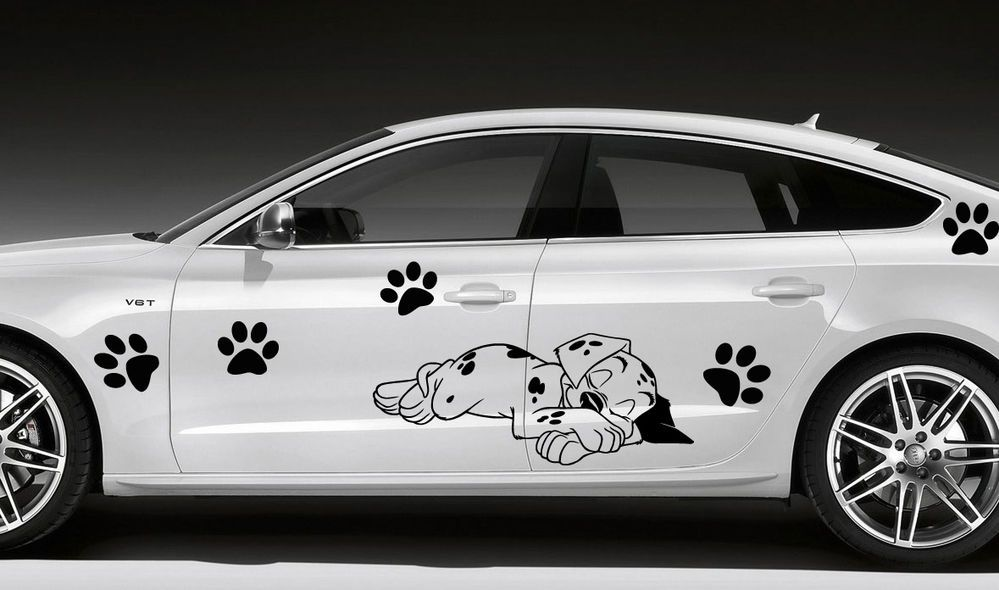 Pyppy Dalmatian Dog Car Side Vinyl Decal Graphics Sticker D - Auto decals and graphics