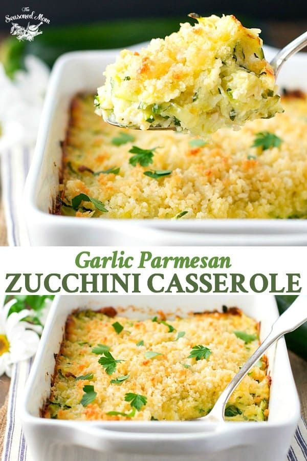 Garlic Parmesan Zucchini Casserole #zucchinirecipes