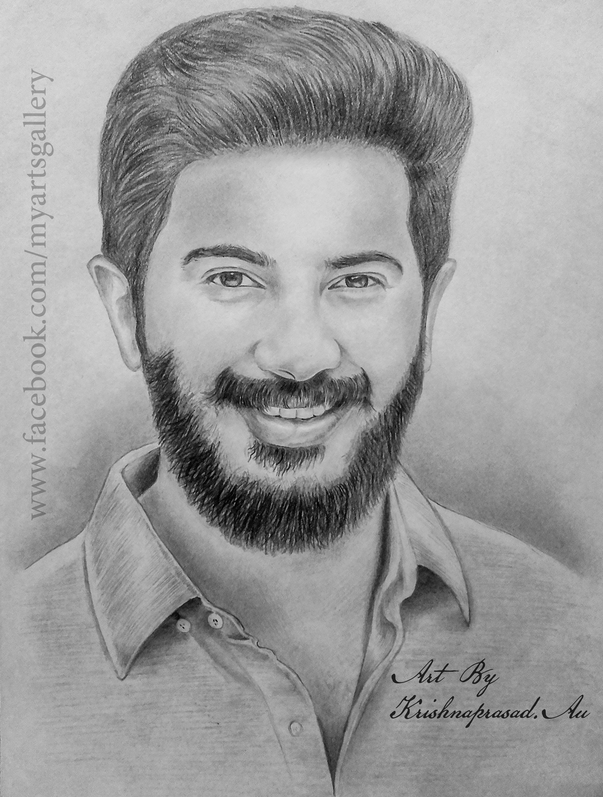 My art work portrait of dulquer salman www facebook com
