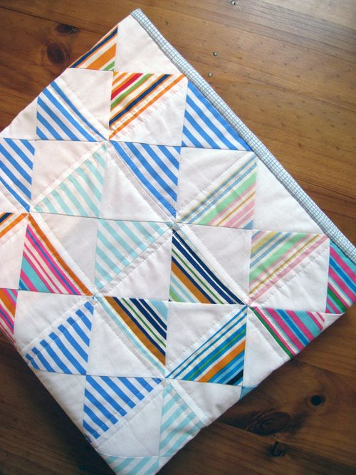 stripey baby-to-boy quilt tutorial - make with old dress shirts?