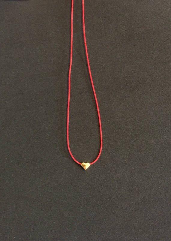16489a1d3 Tiny Golden Heart Necklace, Charm Necklace, Red Rope Necklace, Gold  Necklace Heart, Small Heart Neck