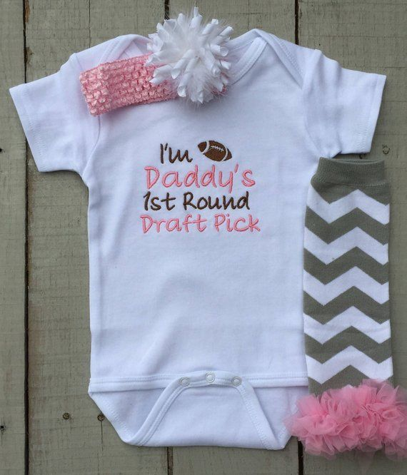 76fe275c913 Baby Girl Bodysuit, I'm Daddy's 1st Round Draft Pick, Baby Girl Clothing  Set, Embroidered, Baby Gift