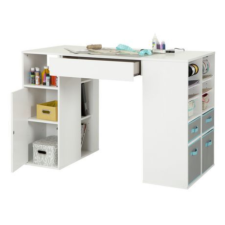 South Shore Crea Counter Height Craft Table With Storage Pure White White Craft Tables With Storage Craft Table Craft Table Diy