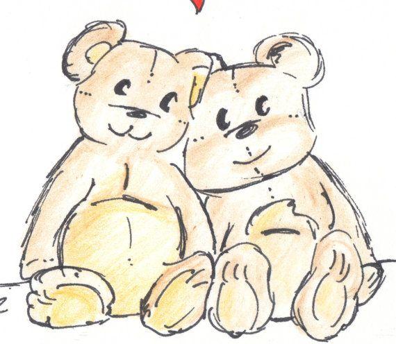 Bear Card Happy Anniversary Card Old Teddy Bears Drawing Etsy Teddy Bear Drawing Teddy Bear Tattoos Old Teddy Bears