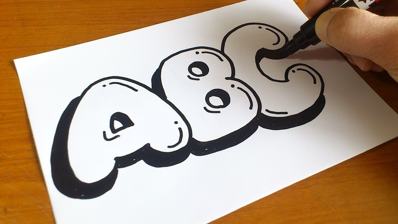 How to draw graffiti bubble letters abc for kids youtube