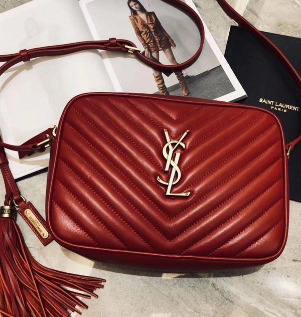 11a71cdfd28f0b Saint Laurent Lou Camera Bag in Red Matelasse Leather | Women's ...