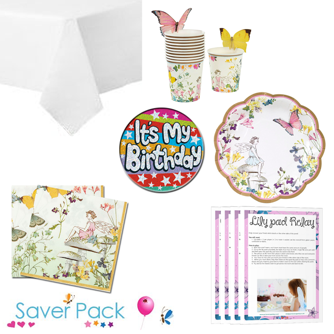 Truly Fairy Party Tableware Saver Pack With A Free It S My Birthday Badge And A Downloadable Party Game Pack Choose From 12 24 Fairy Party Games Party Supplies Birthday Badge