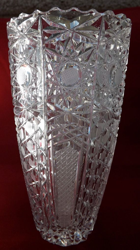 American Brilliant Cut Crystal Vase 1905 By Goldenbeeantiques