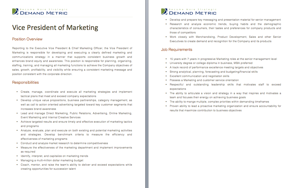 Vice President Of Marketing Job Description A Template To Quickly Document The Role And Responsibilities For Th Marketing Jobs Sales And Marketing Positivity