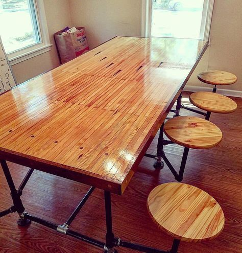 Repurposed Bowling Alley Table With Images Bowling Alley Table