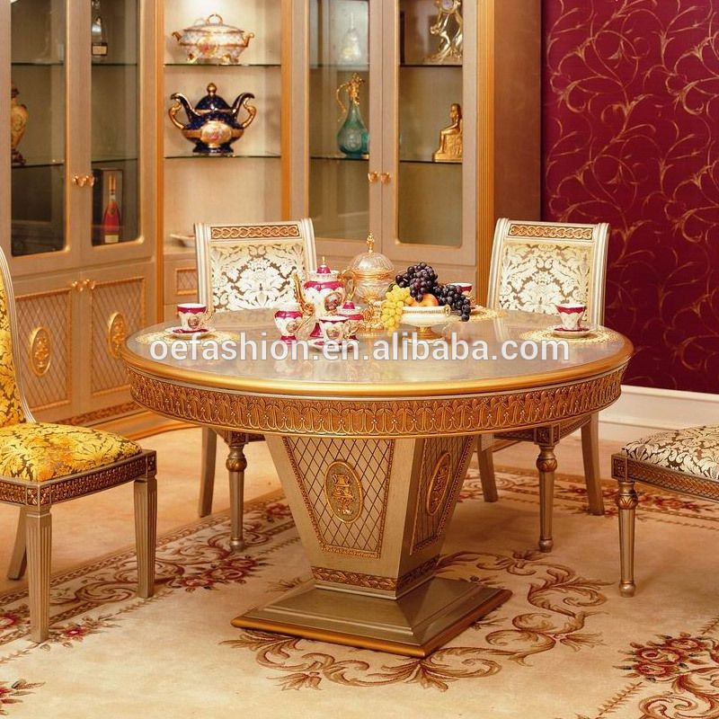 Oe Fashion Royal Round Marble Slab Top Solid Wood Frame Dining