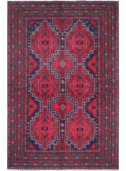 "Red Oriental Tribal Herati Rug 6' 6"" x 9' 10"" (ft) No"