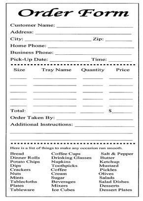 Cake Ball Order Form Templates Free  Bakery Order Form Template