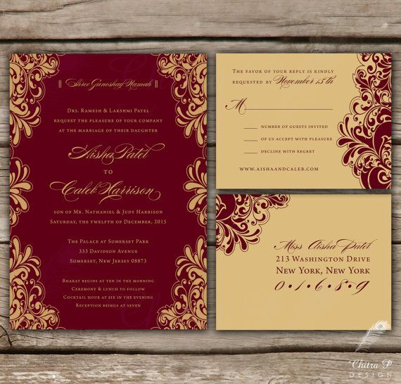 red & gold wedding invitations + rsvp - printed, indian chinese, Wedding invitations
