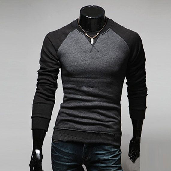 Men's Fashion Casual Slim Fit Long Sleeve T-shirt Tops Tee Shirts ...