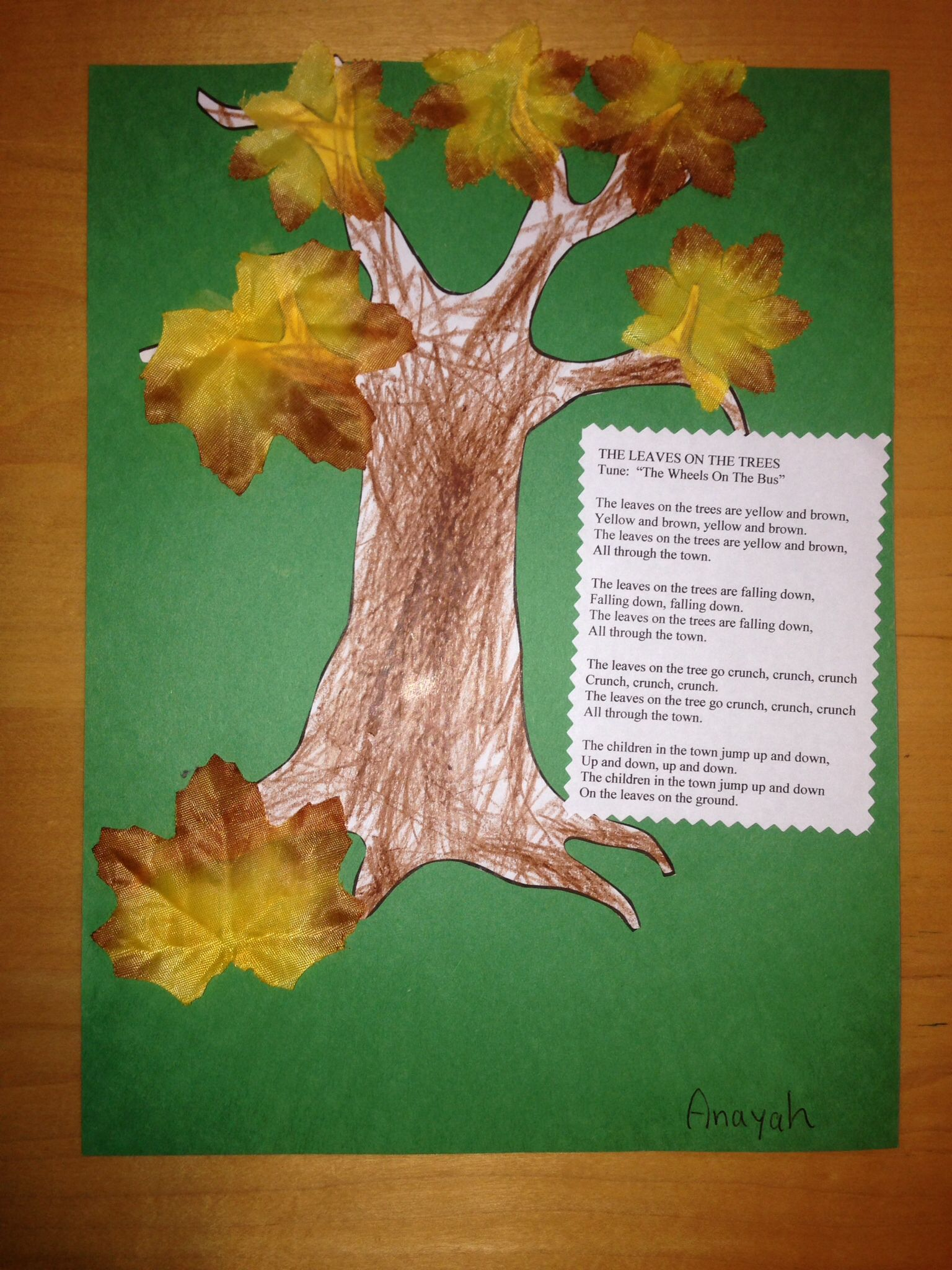 Easy Fall Craft For Toddlers And Preschoolers Children Can Colour The Trunk Cut Out And Glue