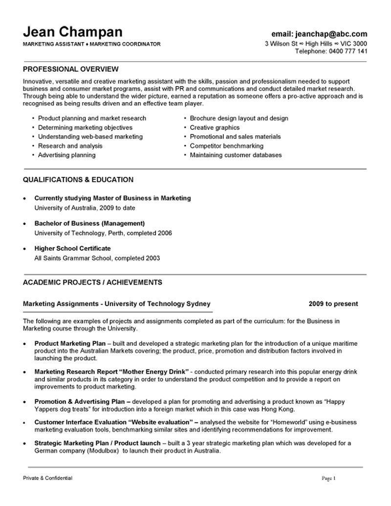 Marketing Coordinator/ Assistant Resume Example Job
