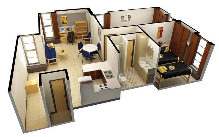 An example of a 4 student apartment in Stearns East and West Halls in Williams Villiage at #CUBoulder. #BoulderBound