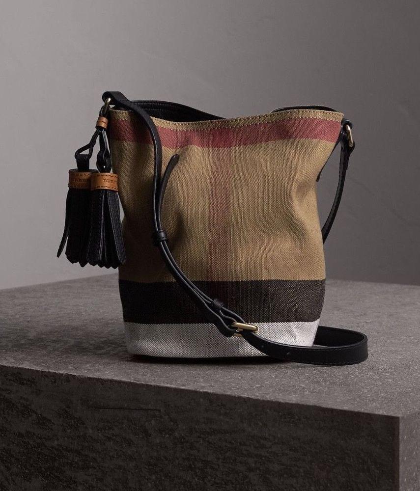 4164446de01c NWT Burberry Canvas Check Mini Ashby Tassel Crossbody Bag