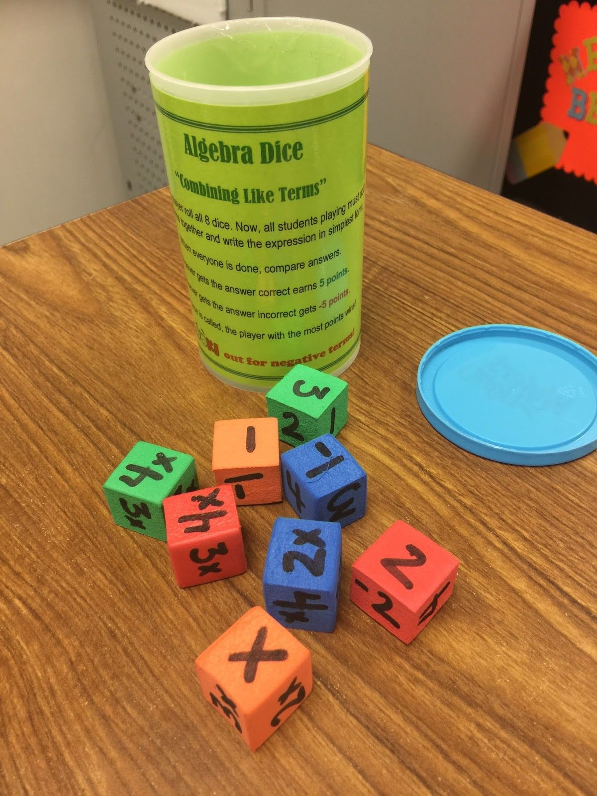 Foam Cubes For Combining Like Terms